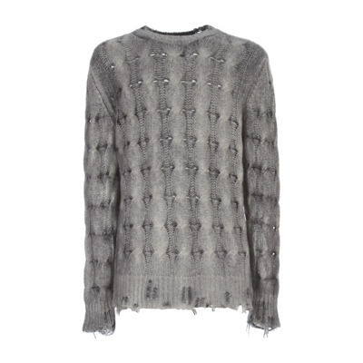 Round Neck Braided Pullover With Destroyed Avant Toi