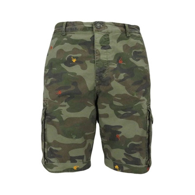 camouflage cargo bermuda shorts with embroidered palm trees 40Weft