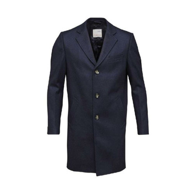 Long midnight blue recycled wool coat Knowledge Cotton Apparel