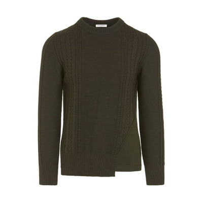 Crewneck sweater with inserts A - Paolo Pecora