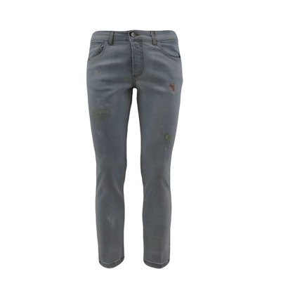 -pocket light wash denim jeans with abrasions and paint Entre amis