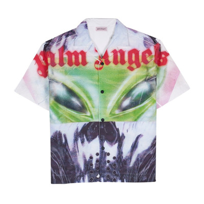 Aw Oversized Bowling shirt met Alien Print in Front Palm Angels
