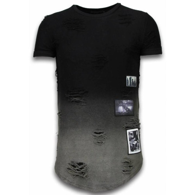 Flare Effect T-shirt - Long Fit Shirt Dual Colored Justing