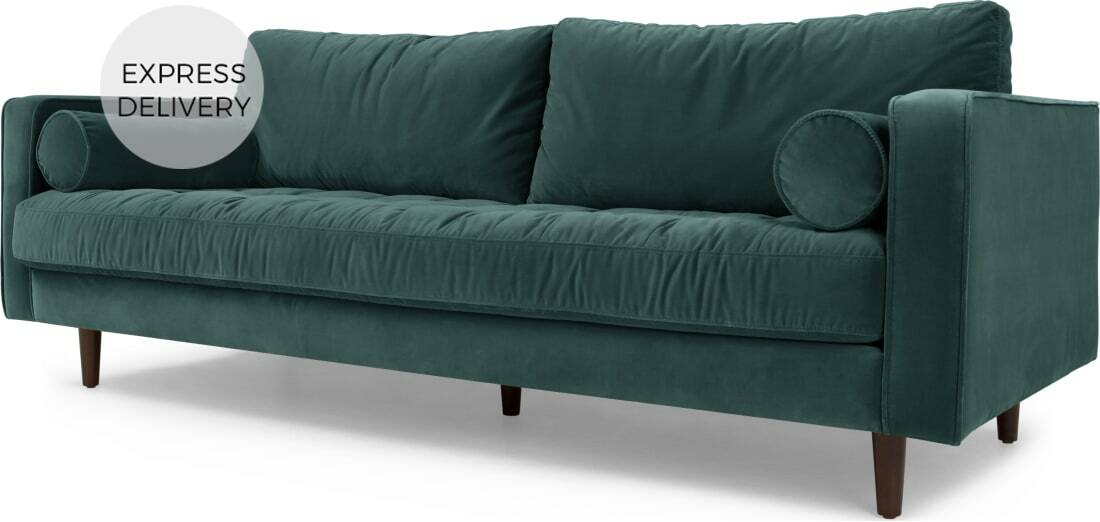 Scott 3 Seater Sofa Petrol Cotton Velvet 999 00 Port