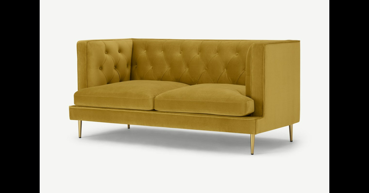 Goswell 2-Sitzer Sofa, Samt in Vintage-Gold - MADE.com