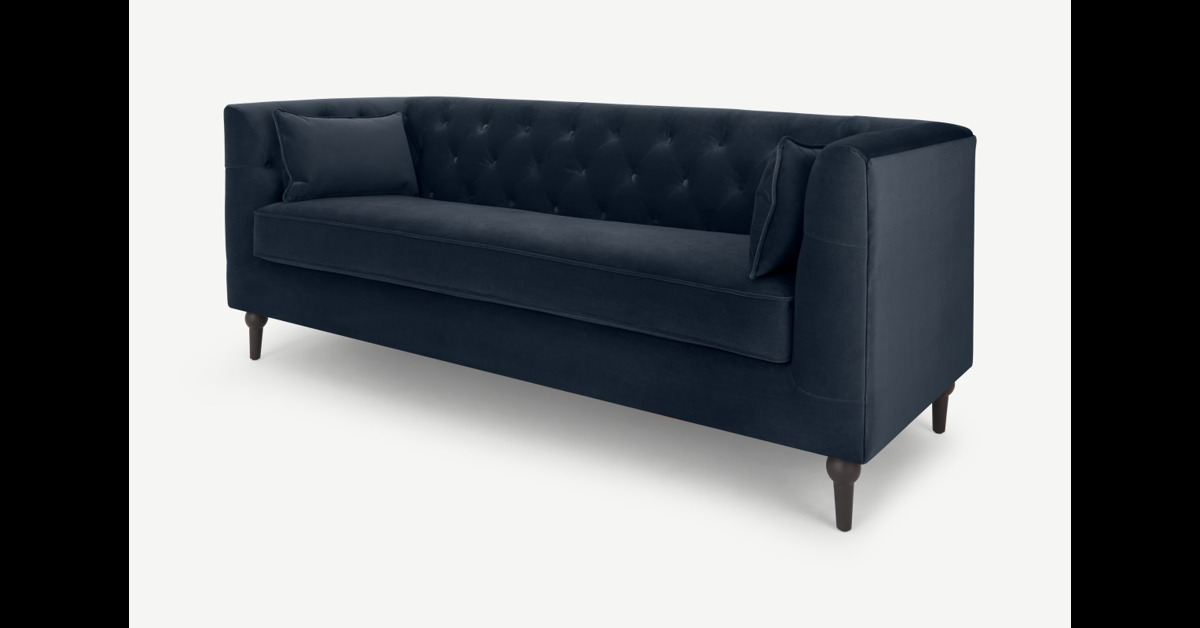 Flynn 3-Sitzer Sofa, Samt in Saphirblau - MADE.com