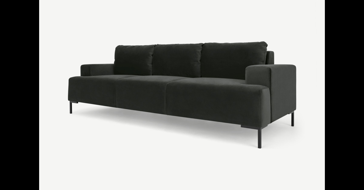 Frederik 3-Sitzer Sofa, Samt in Anthrazit - MADE.com