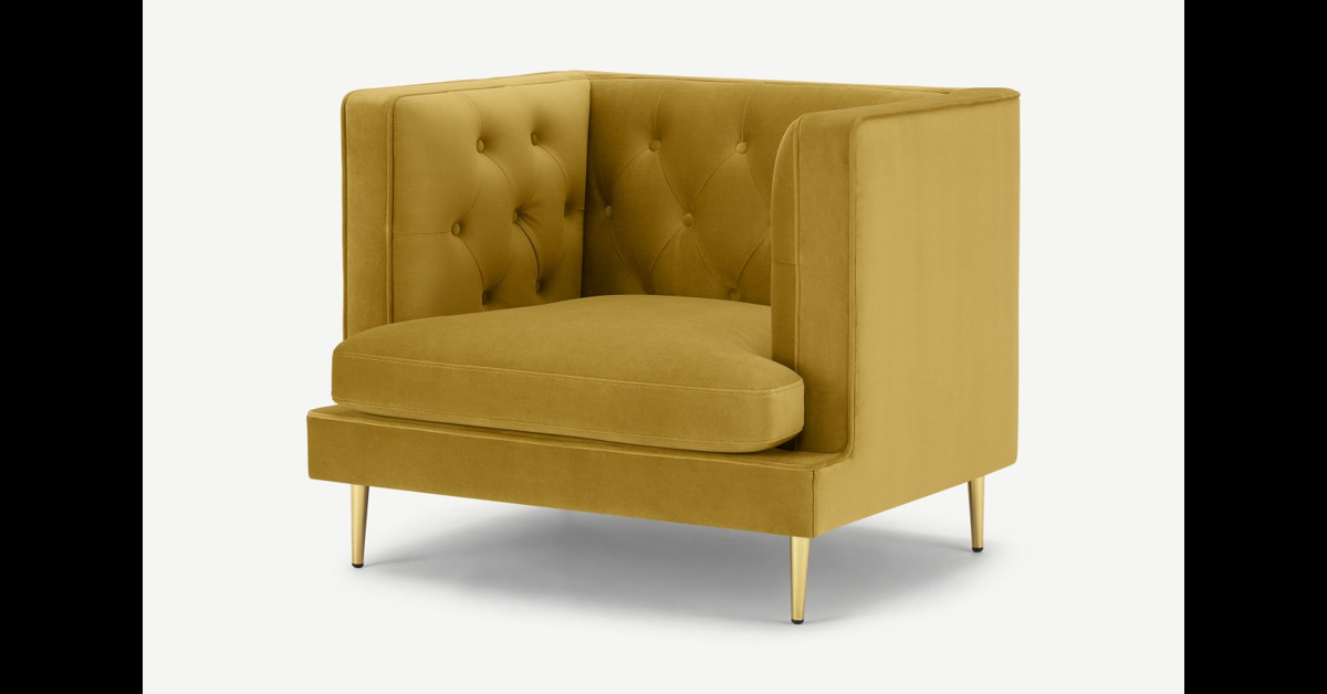 Goswell Sessel, Samt in Vintage-Gold - MADE.com