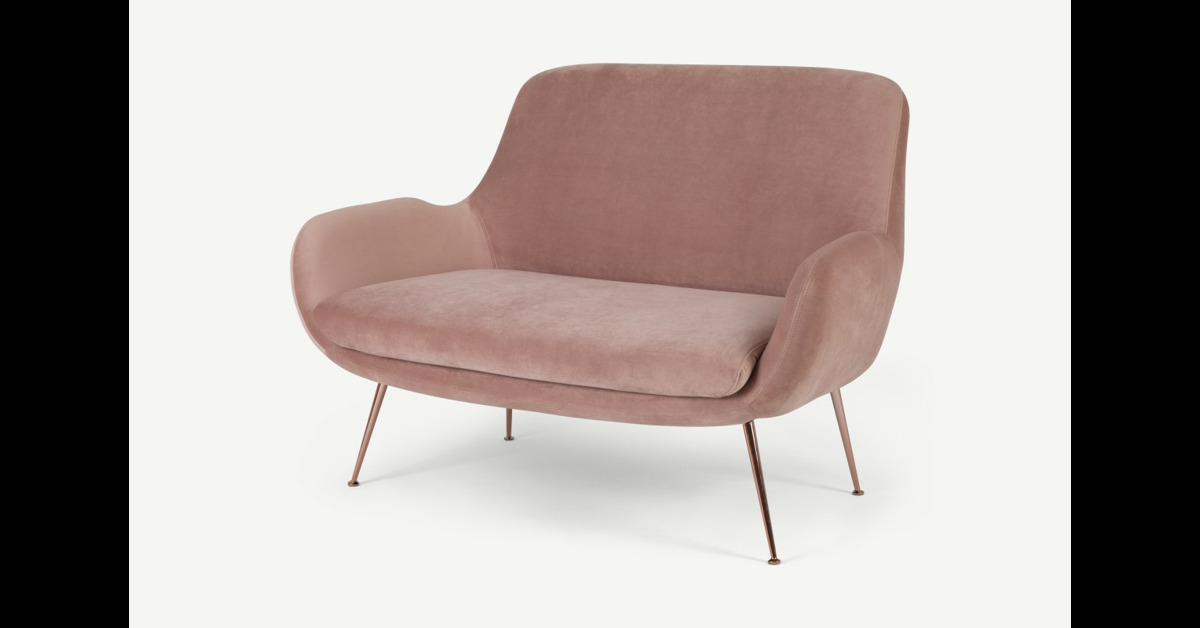 Moby 2-Sitzer Sofa, Samt in Vintagerosa - MADE.com