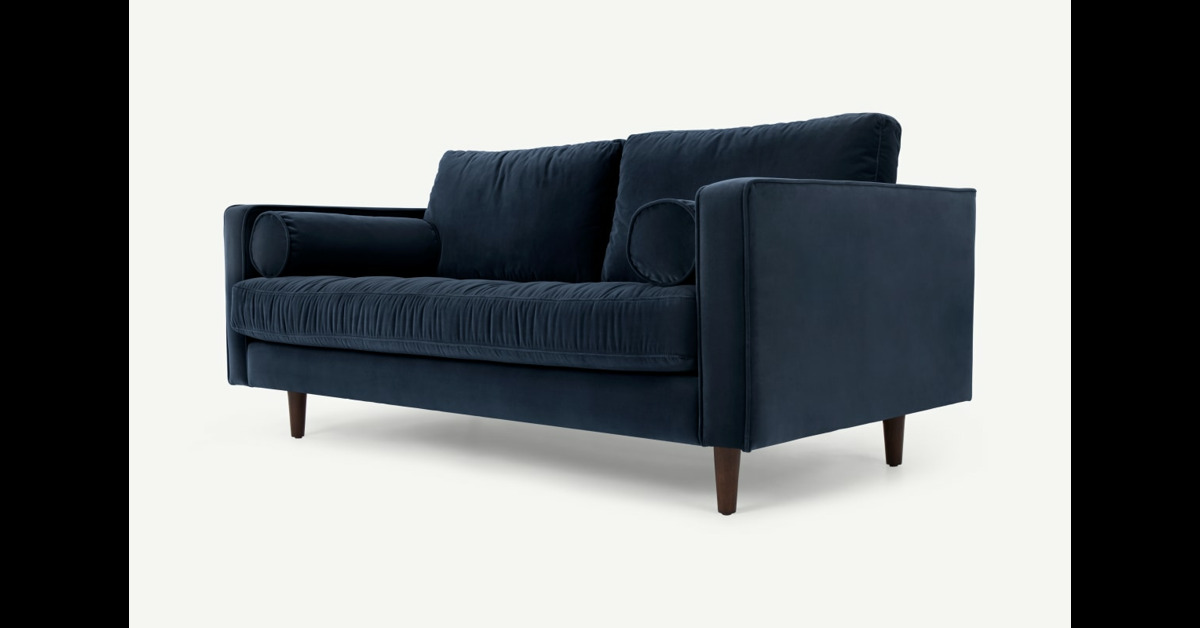 Scott 2-Sitzer Sofa, Samt in Marineblau - MADE.com