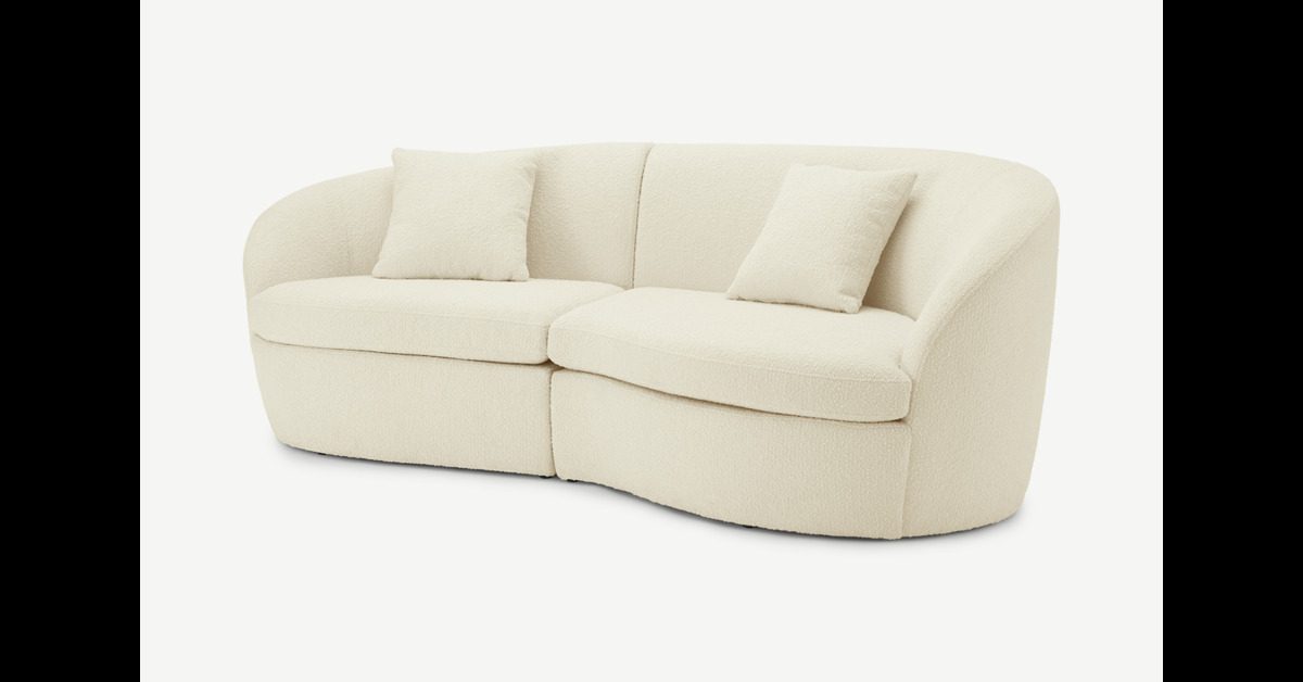 Reisa 3-Sitzer Sofa, Boucle in Weiss - MADE.com