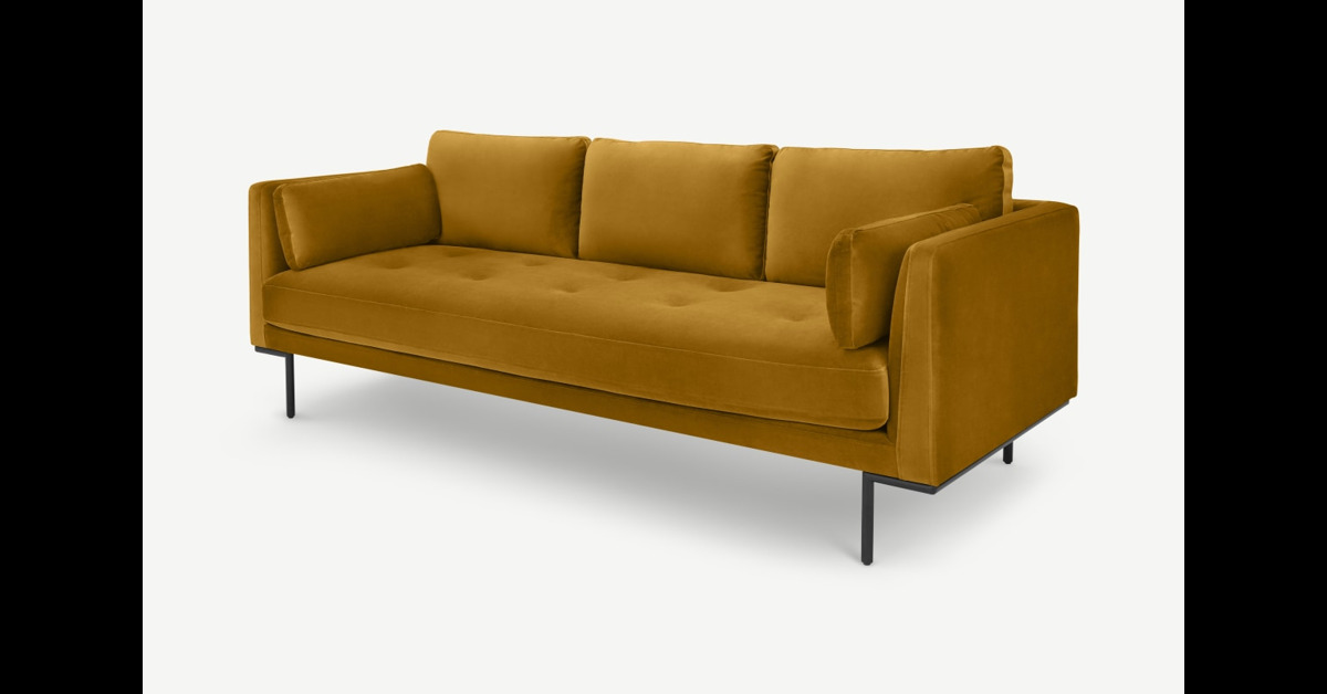 Harlow 3-Sitzer Sofa, Samt in Senfgelb - MADE.com