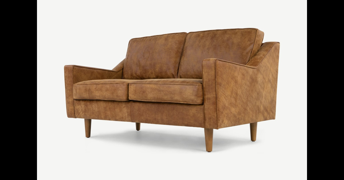 Dallas 2-Sitzer Sofa, Vintage-Premium-Leder in Hellbraun - MADE.com