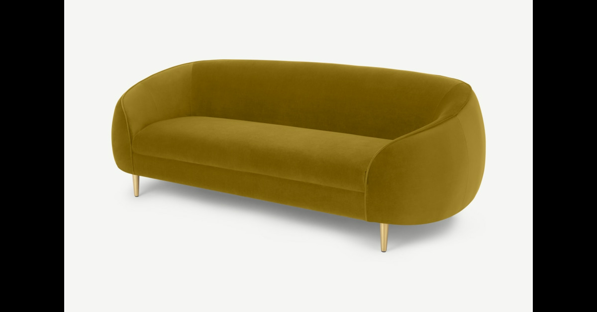 Trudy 3-Sitzer Sofa, Samt in Vintage-Gold - MADE.com