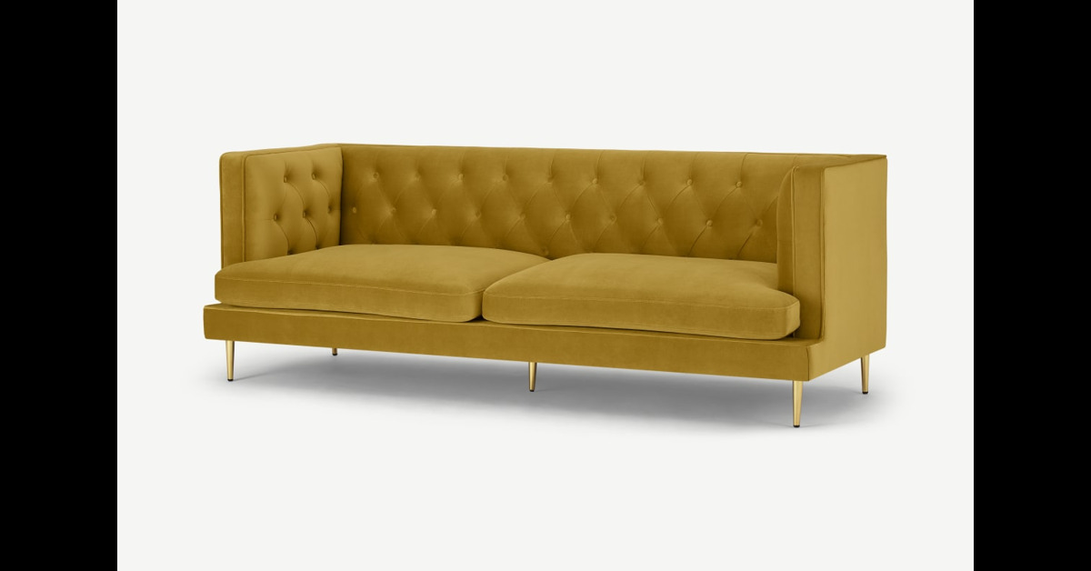 Goswell 3-Sitzer Sofa, Samt in Vintage-Gold - MADE.com