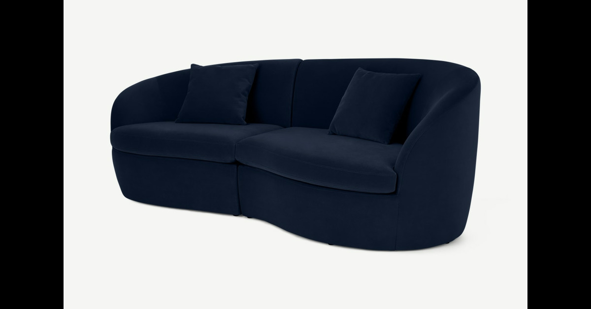 Reisa 3-Sitzer Sofa, Samt in Tintenblau - MADE.com
