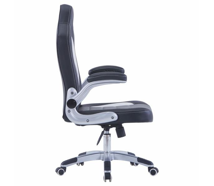 vidaXL gamer szék, műbőr, fekete fehér szürke