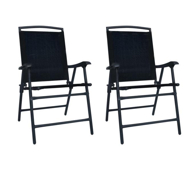 vidaXL vidaXL 2 db fekete összecsukható kerti textilén szék, 62 x 59 x 93 cm, 62 x 59 x 93 cm