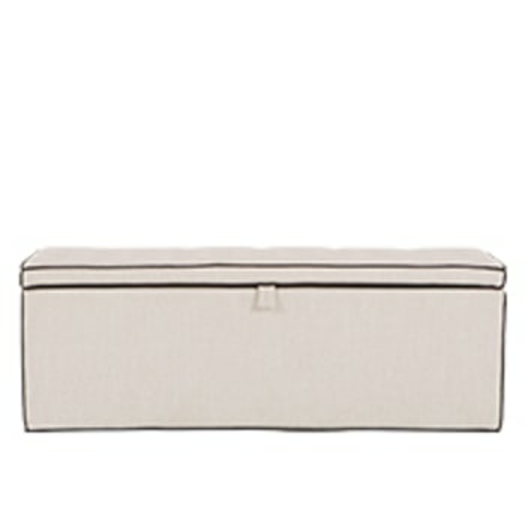 Bergerac Storage Bench, Stone with Contrast Piping