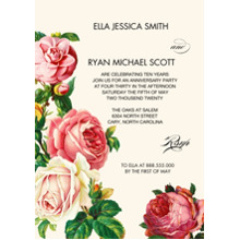 Anniversary Invitations Flat Matte Photo Paper Cards with Envelopes, 5x7, Card & Stationery -Chic Floral
