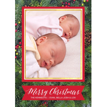 Christmas Photo Cards 5x7 Cards, Premium Cardstock 120lb with Elegant Corners, Card & Stationery -Christmas Holly by Posh Paper