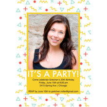 Birthday Party Invites 5x7 Cards, Premium Cardstock 120lb with Rounded Corners, Card & Stationery -Memphis Pattern Invite