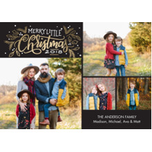 Christmas Photo Cards 5x7 Cards, Premium Cardstock 120lb with Scalloped Corners, Card & Stationery -2018 Christmas Gold Foil by Tumbalina