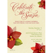 Christmas Party Invitations 5x7 Cards, Premium Cardstock 120lb, Card & Stationery -Poinsettias Invitation