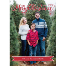 Christmas Photo Cards 5x7 Cards, Premium Cardstock 120lb with Scalloped Corners, Card & Stationery -Christmas Banner