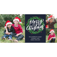 Christmas Photo Cards 4x8 Flat Card Set, 85lb, Card & Stationery -Christmas Festive Wreath