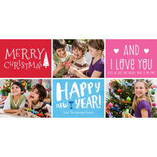 Christmas Photo Cards 4x8 Flat Card Set, 85lb, Card & Stationery -Merry Happy Love