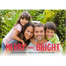 Christmas Photo Cards 5x7 Cards, Premium Cardstock 120lb with Elegant Corners, Card & Stationery -Christmas Red Merry and Bright