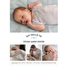 Baby Boy Announcements 5x7 Cards, Premium Cardstock 120lb, Card & Stationery -Baby Blue Heart Collage