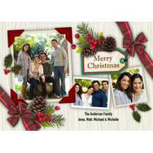 Christmas Photo Cards 5x7 Cards, Premium Cardstock 120lb with Elegant Corners, Card & Stationery -Christmas Tag Pine Cones 3 Photo