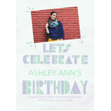 Birthday Party Invites 5x7 Cards, Premium Cardstock 120lb with Scalloped Corners, Card & Stationery -Block Letter Birthday