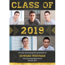 2019 Graduation Announcements 5x7 Cards, Premium Cardstock 120lb with Scalloped Corners, Card & Stationery -2019 Textured Triangles by Hallmark