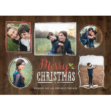 Christmas Photo Cards 5x7 Cards, Premium Cardstock 120lb with Rounded Corners, Card & Stationery -Wooden Collage