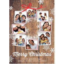 Christmas Photo Cards 5x7 Cards, Premium Cardstock 120lb with Rounded Corners, Card & Stationery -Christmas Snowflakes Photo Wreath