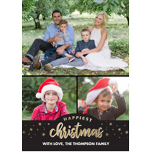 Christmas Photo Cards 5x7 Cards, Premium Cardstock 120lb with Rounded Corners, Card & Stationery -Christmas Happiest Gold Stars