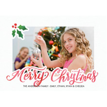 Christmas Photo Cards 5x7 Cards, Premium Cardstock 120lb with Scalloped Corners, Card & Stationery -Christmas Holly Corner