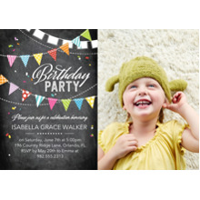 Birthday Party Invites 5x7 Cards, Premium Cardstock 120lb with Rounded Corners, Card & Stationery -Birthday Party Flags