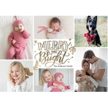 Christmas Photo Cards 5x7 Cards, Premium Cardstock 120lb with Rounded Corners, Card & Stationery -Christmas Merry and Bright Frames