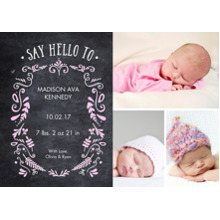 Baby Announcements Flat Matte Photo Paper Cards with Envelopes, 5x7, Card & Stationery -Baby Foliage Chalkboard