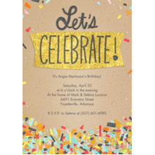 Birthday Party Invites 5x7 Cards, Premium Cardstock 120lb with Scalloped Corners, Card & Stationery -Let's Celebrate Confetti