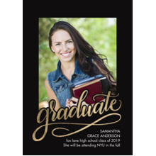 2019 Graduation Announcements 5x7 Cards, Premium Cardstock 120lb with Rounded Corners, Card & Stationery -Graduate Gold Hand Lettered 2018 by Tumbalin