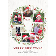 Christmas Photo Cards 5x7 Cards, Premium Cardstock 120lb with Rounded Corners, Card & Stationery -2018 Christmas Wreath Watercolor by Tumbalina