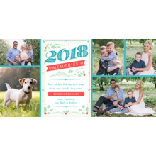 Christmas Photo Cards 4x8 Flat Card Set, 85lb, Card & Stationery -2018 Memories With Holly