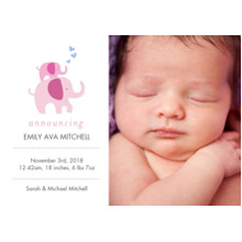 Baby Announcements Flat Glossy Photo Paper Cards with Envelopes, 5x7, Card & Stationery -Baby Elelphants & Hearts