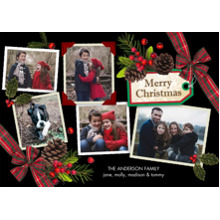 Christmas Photo Cards 5x7 Cards, Premium Cardstock 120lb with Elegant Corners, Card & Stationery -Christmas Tag Pine Cones