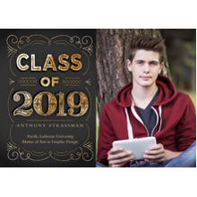 2019 Graduation Announcements 5x7 Cards, Premium Cardstock 120lb with Rounded Corners, Card & Stationery -2019 Gold Swirls by Hallmark
